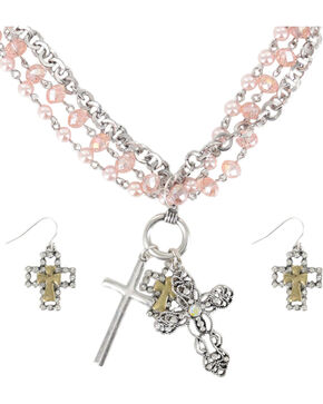 Shyanne Women's Cross Charm Jewelry Set, Pink, hi-res
