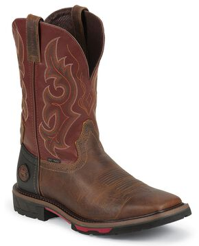 Justin Hybred Red Work Boots - Composition Toe, Rugged, hi-res