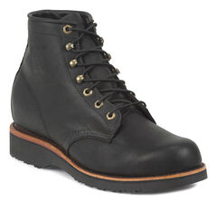 "Chippewa Men's Black Odessa 6"" Lace-Up Work Boots - Round Toe, , hi-res"