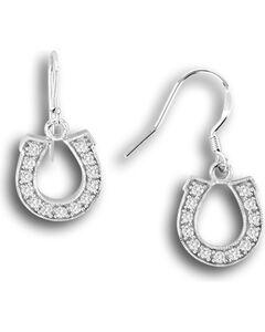 Kelly Herd Sterling Silver Rhinestone Horseshoe Dangle Earrings, Silver, hi-res