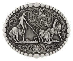 Montana Silversmiths Classic Oval Team Roping Attitude Belt Buckle, , hi-res