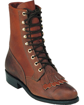 Boulet Shoulder Buffalo Bill Matte Lace Up Boots - Round Toe, Brown, hi-res