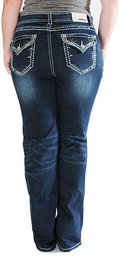 Grace in LA Thick Stitch Rim Dark Wash Bootcut Jeans - Plus Sizes, , hi-res