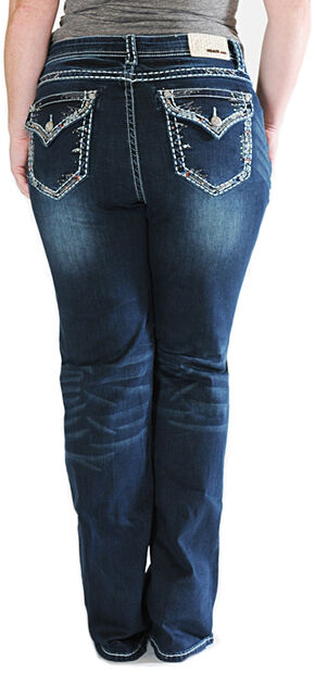 Grace in LA Thick Stitch Rim Dark Wash Bootcut Jeans - Plus Sizes, Indigo, hi-res