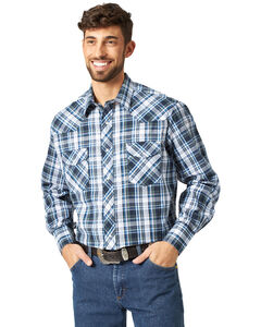 Wrangler Assorted Stripe or Plaid Classic Long Sleeve Western Shirt, , hi-res