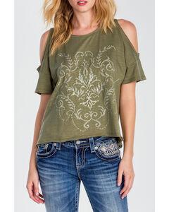 Miss Me Women's Olive Open Shoulder Shirt, , hi-res