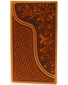 Nocona Men's Leaves and Acorns Basket Weave Rodeo Wallet, , hi-res