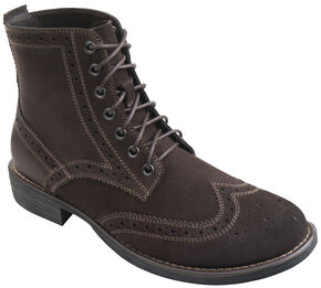 Eastland Men's Brown Suede Bennett Wing Tip Boots, Brown, hi-res