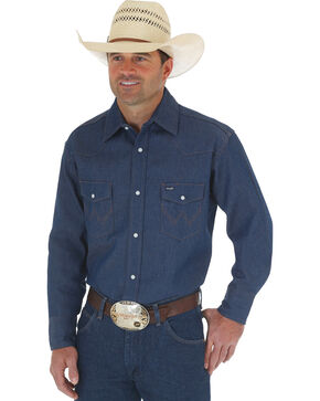 Wrangler Men's Authentic Cowboy Cut Rigid Denim Work Shirt, Blue, hi-res