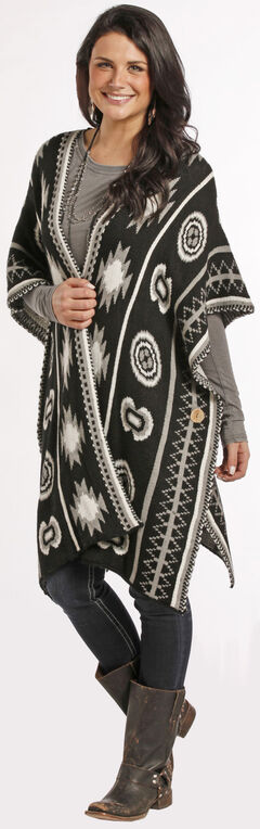 Rock and Roll Cowgirl Women's Open Front Aztec Poncho, , hi-res