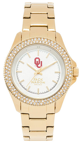 Jack Mason Women's Oklahoma Gold-Tone Glitz Sport Bracelet Watch , Gold, hi-res