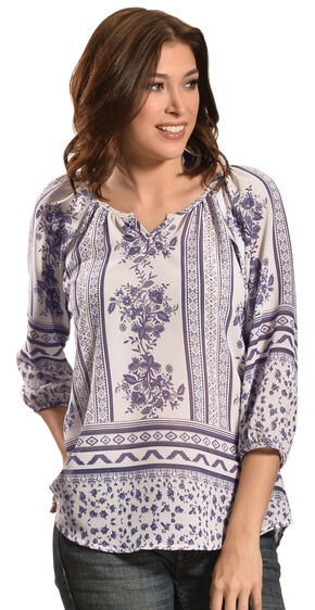 Tantrums Women's Blue and White Floral Mix Top , Blue, hi-res