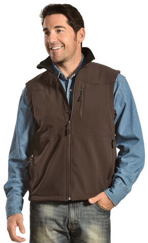 Red Ranch Men's Western Yoke Bonded Vest , Chocolate, hi-res