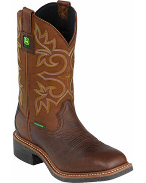 John Deere Men's Waterproof Western Work Boots - Composite Toe, Brown, hi-res