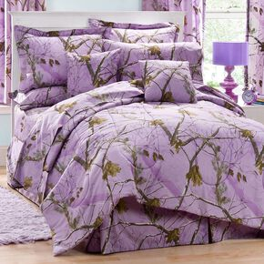 Realtree Lavender Camo Queen Comforter Set, Camouflage, hi-res