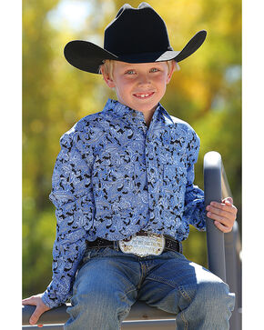 Cinch Boys' Long Sleeve Blue Paisley Print Snap Shirt, Blue, hi-res