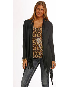 Panhandle Slim Women's Black Fringe Draped Cardigan , , hi-res