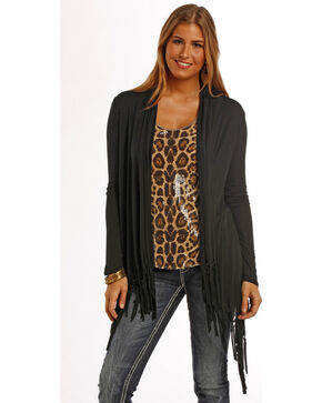 Panhandle Slim Women's Black Fringe Draped Cardigan , Black, hi-res