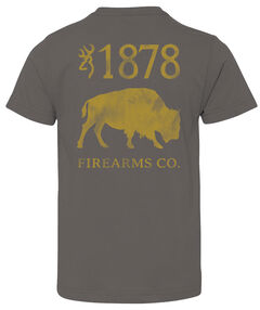 Browning Boys' Buffalo Firearms Tee, Charcoal Grey, hi-res