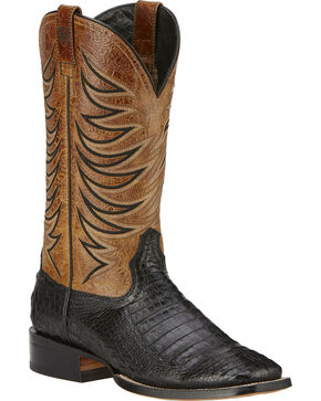 Ariat Fire Catcher Caiman Cowboy Boots - Square Toe, Black, hi-res