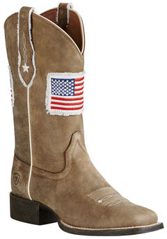 Ariat Women's Sand Patriot Flag Cowgirl Boots - Square Toe , , hi-res