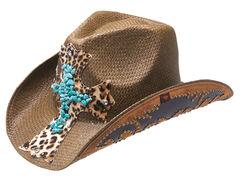 Peter Grimm Zeke Leopard Print Cross Brown Straw Cowgirl Hat, , hi-res