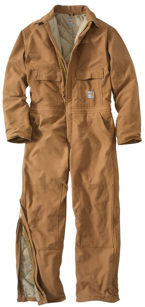 Carhartt Flame Resistant Quilt-Lined Duck Coveralls - Big & Tall, Carhartt Brown, hi-res