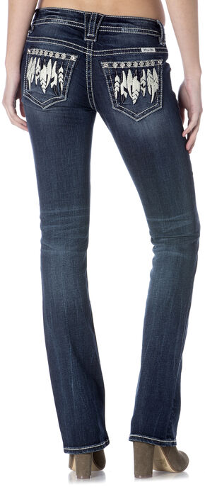 Miss Me Women's Feather Boho Slim Jeans - Bootcut , Indigo, hi-res