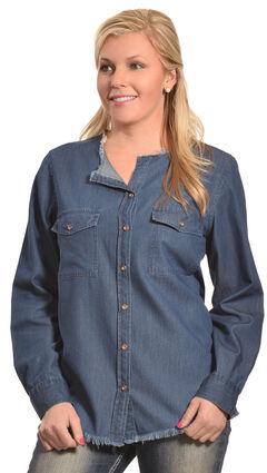 New Direction Women's Frayed Edge Denim Shirt - Plus Sizes, , hi-res