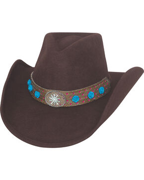 Bullhide Hats Women's Chocolate Brown Thinkin' Problem Wool Felt Cowboy Hat, Chocolate, hi-res