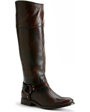 Frye Women's Melissa Harness Inside Zipper Riding Boots, Dark Brown, hi-res