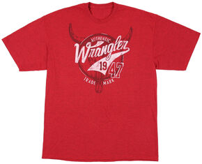 Wrangler Men's Red Wrangler 47 Logo T-Shirt , Red, hi-res