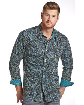 Rock & Roll Cowboy Men's Paisley Print Long Sleeve Shirt , Green, hi-res