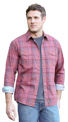 Wrangler Retro Men's Red Plaid Western Shirt , , hi-res