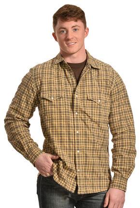 Ryan Michael Men's Dobby Plaid Shirt, Goldenrod, hi-res