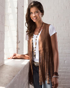 Ryan Michael Women's Leather Fringe Vest, , hi-res