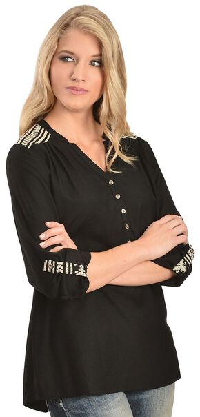 Red Ranch Mandarin Collar Top, Black, hi-res
