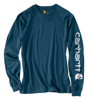 Carhartt Men's Workwear Logo Long Sleeve T-Shirt, Blue, hi-res