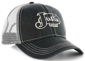 Justin Men's Black Oilcloth Silver Mesh Logo Cap , Black, hi-res
