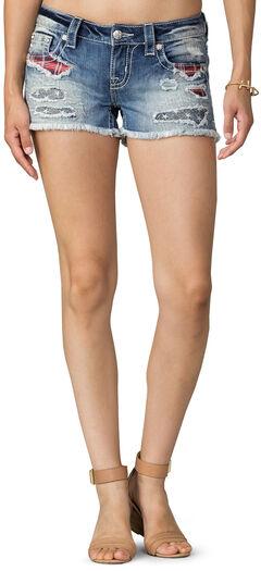 Miss Me Women's Indigo Rip Patch Star Struck Shorts , , hi-res