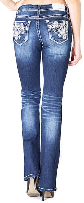 Grace in LA Women's Scroll Pocket Easy Fit Bootcut Jeans , Indigo, hi-res