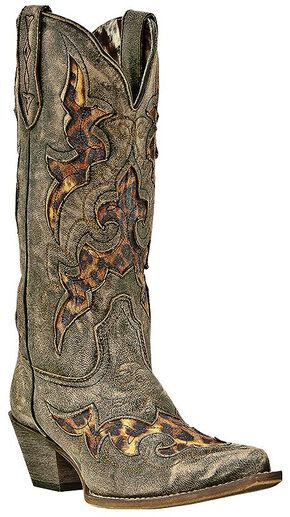 Laredo Leopard Print Leather Inlay Cowgirl Boots - Snip Toe, Black, hi-res