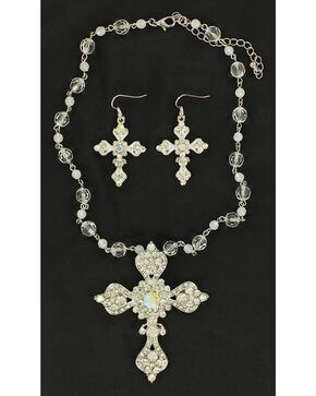 Blazin Roxx Rhinestone Embellished Cross Necklace & Earrings Set, White, hi-res