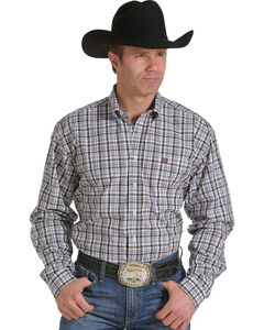 Cinch Men's White, Wine and Grey Plaid Western Shirt , White, hi-res