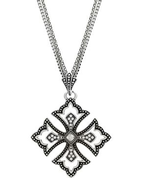 Wrangler Rock 47 Pins & Needles Scalloped Cross Necklace, Silver, hi-res