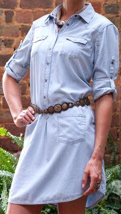 Ryan Michael Women's Cotton Silk Chambray Shirt Dress, , hi-res