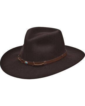 Black Creek Women's Crushable Wool Pinch Front Hat , Dark Brown, hi-res