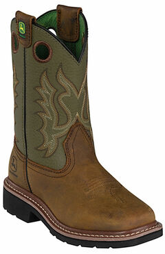 John Deere Youth Boys' Johnny Popper Olive Western Boots - Square Toe, , hi-res
