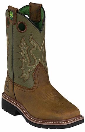 John Deere Youth Boys' Johnny Popper Olive Western Boots - Square Toe, Olive, hi-res