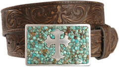 Nocona Cross Buckle Leather Belt, , hi-res